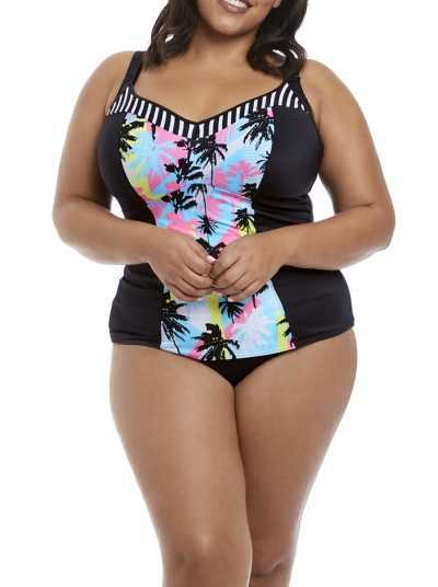 Malibu Days Black Tankini bonnet moulé